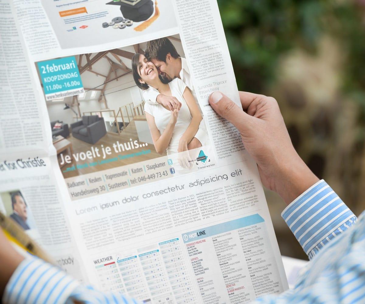 Ontwerp advertentie voor in de krant voor meer naamsbekendheid