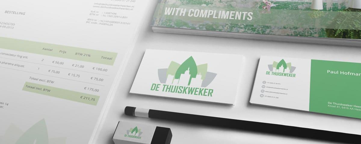 Ontwerp huisstijl: briefpapier, visitekaartjes en thank you card