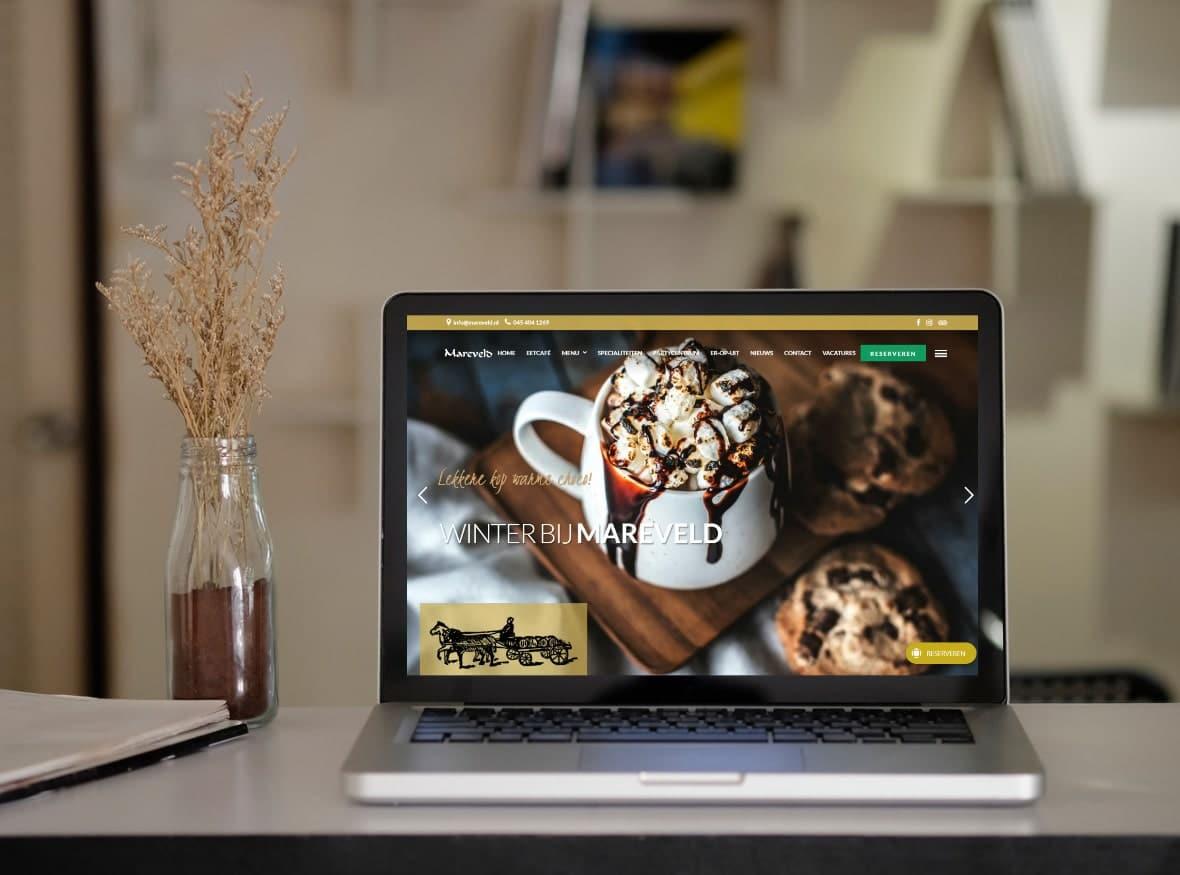 Website voor eetcafé / restaurant met sfeervolle huisstijl