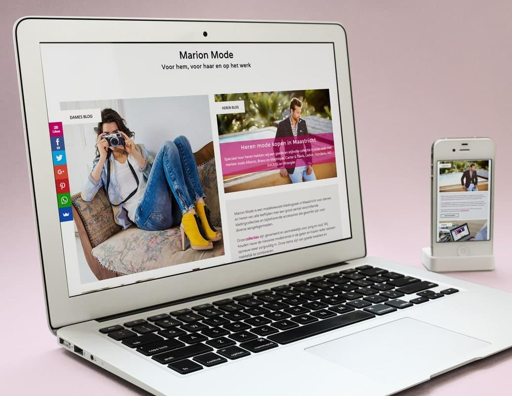 website van de kledingwinkel in eigen huisstijl