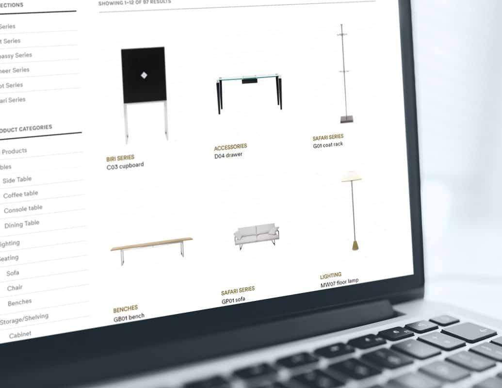 Online productcatalogus (webshop) voor meubelontwerper