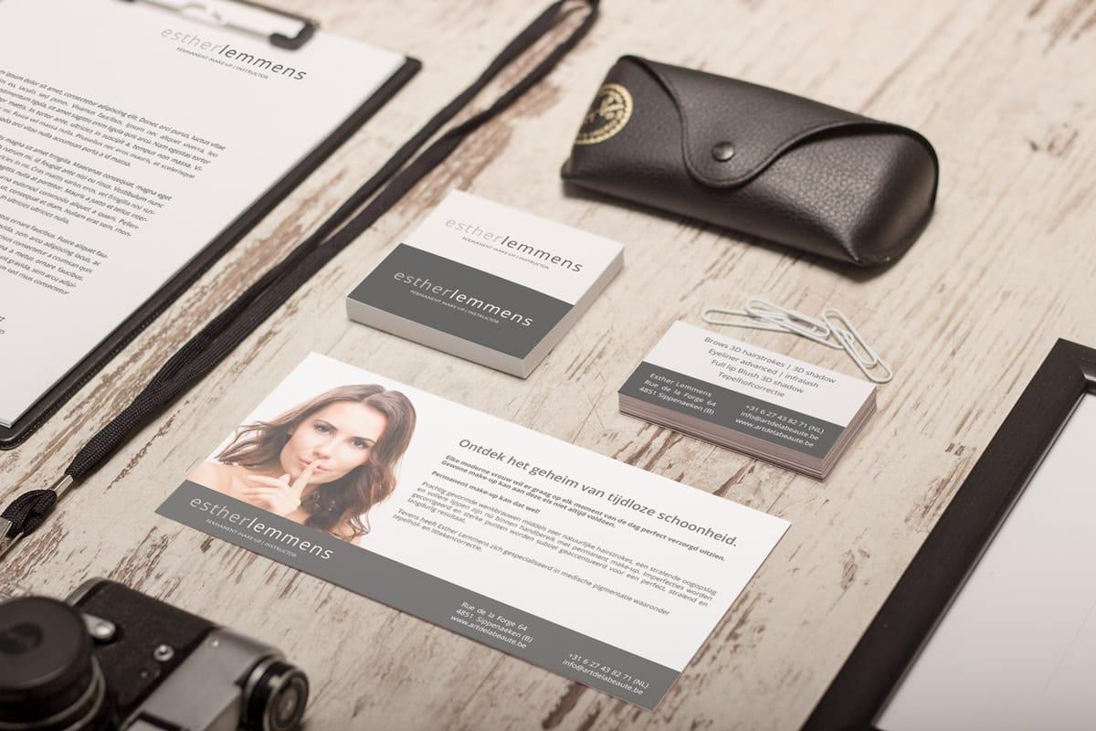 Branding voor PMU expert: visitekaart, briefpapier en flyer ontwerp
