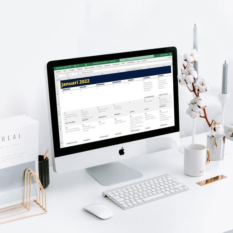 Social media contentkalender in Excel voor 2022
