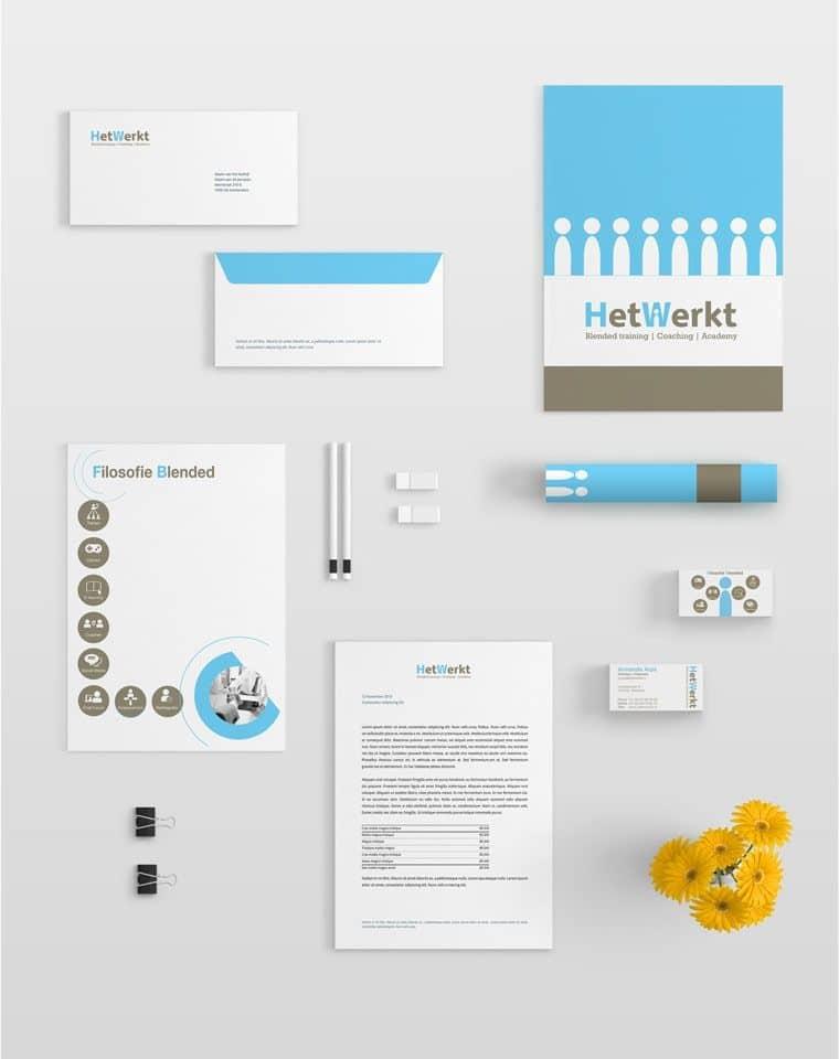 Brand design: ontwerp huisstijl voor offertemap, visitekaart en briefpapier