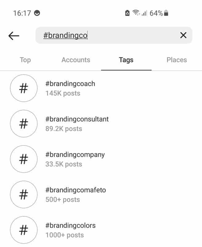 Hashtags zoeken op bereik in Instagram